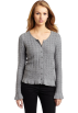 AK Anne Klein Cardigan -  Ak Anne Klein Women's Long Sleeve Button Down Cardigan Grey Heather