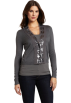 AK Anne Klein Cardigan -  Ak Anne Klein Women's Longsleeve V-Neck Cardigan with Chiffon Trim Ash