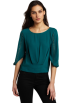 BCBGMAXAZRIA Top -  BCBGMAXAZRIA Women's Marlene Studded Sleeve Top Jewel Green