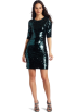 BCBGMAXAZRIA Dresses -  BCBGMAXAZRIA Women's Marta 3/4 Sleeve Sequin Dress Deep Jade Combo