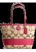 COACH Bag -  Coach Signature Stripe Bag Purse Tote 17433 Khaki Red