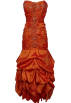 PacificPlex Dresses -  Beaded Embroidered Taffeta Long Gown Prom Holiday Dress Orange