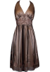 PacificPlex Dresses -  Beaded Mesh Satin Holiday Gown Party Cocktail Prom Halter Dress Gold