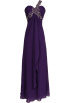 PacificPlex Dresses -  Beaded One-Shoulder Chiffon Long Goddess Gown Prom Dress Purple