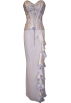 PacificPlex Dresses -  Beaded Strapless Satin Full Length Formal Gown With Side Ruffle Prom Dress Junior Plus Size Ivory