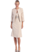 FineBrandShop Dresses -  Beige with Gold Foil Mother of Bride Dress Jacket Included