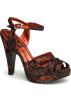 Pin Up Couture Sandals -  Black And Red Brocade Platform Sandal - 6