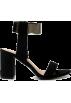 ZAFUL Sandals -  Black Flock Chunky Heel Sandals