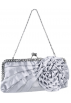 MG Collection Hand bag -  Blossom Flower Rhinestones Decor Kiss Clasp Closure Soft Mini Evening Bag Clutch Handbag Purse Baguette Shoulder Bag w/2 Chain Straps Silver