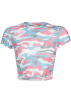 FECLOTHING Camicie (corte) -  Camouflage T-shirt umbilical sexy top