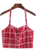 FECLOTHING Shirts -  Chest-trimmed red plaid halter slings
