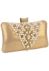 MG Collection Hand bag -  Classic Pearl Beads Brooches Rhinestone Encrusted Latch Hard Case Clutch Baguette Evening Bag Handbag Purse w/2 Chain Straps Gold