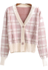 FECLOTHING Cardigan -  Contrast plaid short cardigan knit