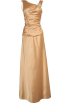 PacificPlex Dresses -  Cowl-Back Satin Long Gown with Crystal Pin Junior Plus Size Gold