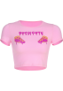 FECLOTHING Shirts -  Creative letter pattern pink t-shirt