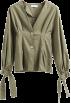 FECLOTHING Long sleeves t-shirts -  Cuff bow tie V-neck plain shirt
