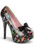 Pin Up Couture Piattaforme -  Dia De Los Muertos Print Platform Pump With Bow - 6