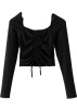 FECLOTHING Long sleeves shirts -  Drawstring knit one-shoulder top on the