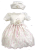 Amazon.com Dresses -  Elegant Baby Girl Ivory Pink Dress & Hat. Available in 12,18,24,36 Months