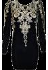 FECLOTHING Belt -  Embroidered black Vintage Puff Sleeve Dr