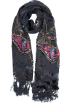 MG Collection Scarf -  Exotic Chiffon / Velvet Butterfly Print Sequins Beaded Long Shawl Wrap Scarf - 6 color options Black