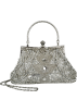 MG Collection Hand bag -  Exquisite Seed Bead Sequined Leaf Evening Handbag, Clasp Purse Clutch w/Hidden Handle Silver