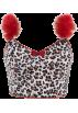 FECLOTHING Shirts -  Fur stitching sleeve leopard print ultra