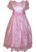 FineBrandShop Dresses -  Girls Pink Satin Floral Embroidered Beaded Long Dress Back Tide