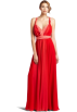 Halston Heritage Dresses -  HALSTON HERITAGE Women's Halter Gown With Attached Belt Coral Combo