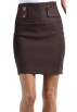 Saka's skirts Skirts -  High Waist Stretch Pencil Skirt with Button Detail ( Choose from 3 Colors ) - Clearance Sale ! Brown