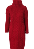 FECLOTHING Dresses -  High neck long sweater hem split knit dr