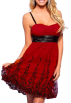 Hot from Hollywood Dresses -  Hot New Sexy Designer Floral Evening Prom Party Cocktail Bubble Dress Red w/ Black Metallic Floral Accent