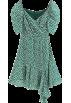 FECLOTHING Dresses -  Irregular green floral V-neck bubble sle