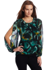 Kenneth Cole Tunic -  Kenneth Cole Women's Abstract Rose Slit Sleeve Tunic Deep Green Combo