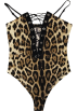 FECLOTHING Overall -  Lace-up V-neck sling leopard-print jumps
