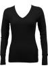 FineBrandShop Long sleeves t-shirts -  Ladies Black Long Sleeve Thermal Top V-Neck