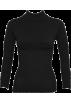 FineBrandShop Long sleeves t-shirts -  Ladies Black Seamless Long Sleeve Turtleneck Top Diamond Pattern