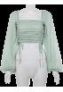 FECLOTHING Shirts -  Lantern Sleeve Square Collar Drawstring