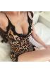 FECLOTHING Dresses -  Leopard lace stitching split skirt