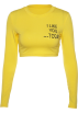 FECLOTHING T-shirts -  Letter Printed Navel Long Sleeve T-Shirt
