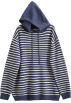 FECLOTHING Pullovers -  Loose Hooded Pinstrip Knit Sweater