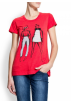 Mango Majice - kratke -  Mango Women's Drawing Print T-shirt Red