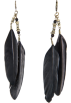 Mango Earrings -  Mango Women's Feather Long Earrings Black