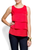 Mango Top -  Mango Women's Ruffled Blouse Coral