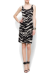 Mango Vestidos -  Mango Women's Straight Cut Zebra Dress Black