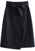 FECLOTHING Skirts -  Navy blue high waist laced bow slit skir