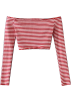 FECLOTHING Long sleeves shirts -  One-shoulder striped short T-shirt