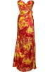 PacificPlex Dresses -  Paisley Floral Print Satin Beaded Formal Gown Prom Dress Orange