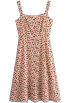 FECLOTHING Dresses -  Pastoral Print Long Buttoned Strap Dress