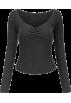 FECLOTHING Long sleeves shirts -  Peach Heart Collar Pleated Soft Long Sle